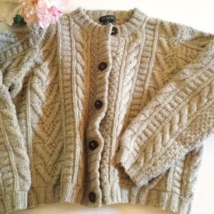 J. Crew Wool Cable Knit Cardigan - M